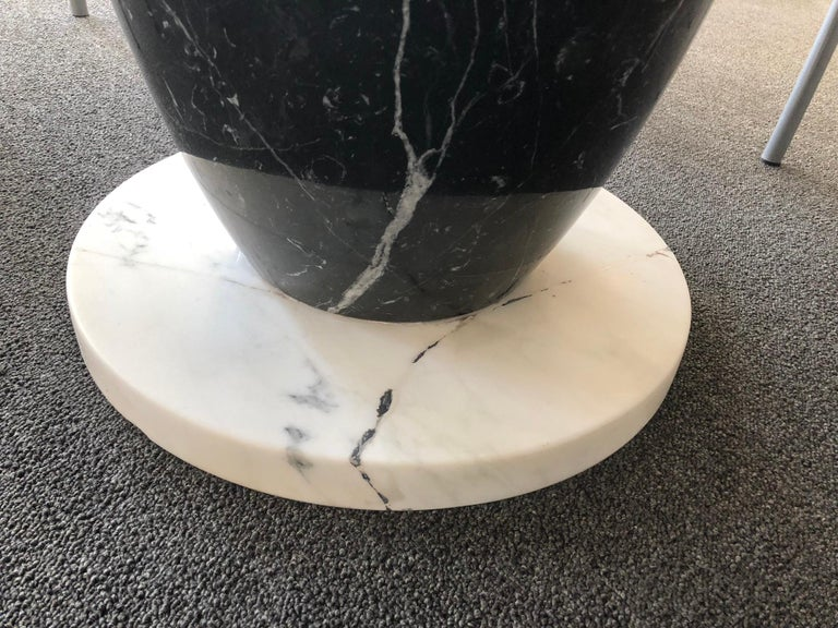 Polished Italian Carrara and Black Marble Dining Table  For Sale