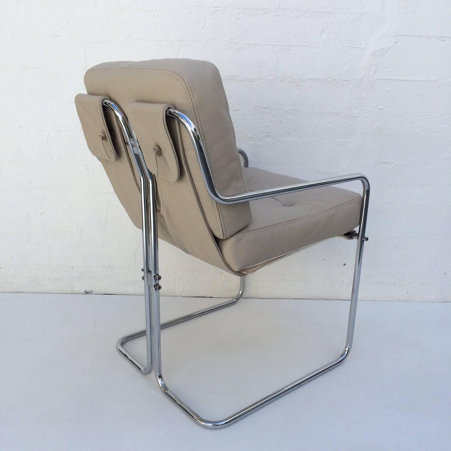 Set of six leather and chrome dining chairs by cy mann for for Leather and chrome dining chairs