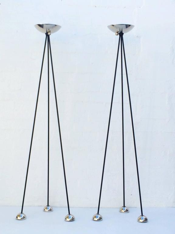 Pair Of Nickel Torchiere Floor Lamp By Koch And Lowy For