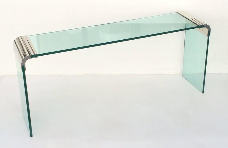 Scalloped Nickel And Glass Console Table By Leon Rosen For Pace Collection  In Excellent Condition For
