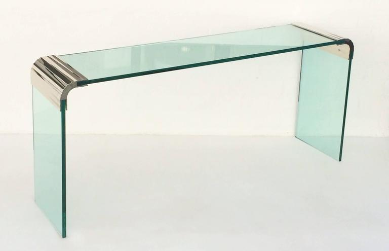 Mid Century Modern Scalloped Nickel And Glass Console Table By Leon Rosen  For Pace Collection