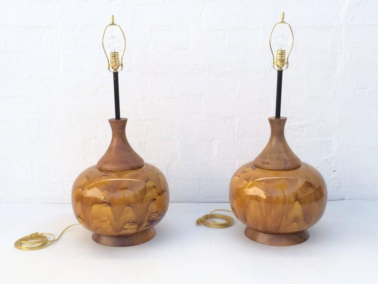 Brass Large Pair of Drip Glazed Ceramic Lamps For Sale