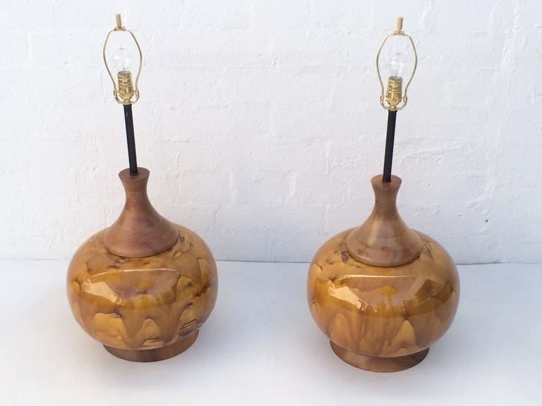 Mid-20th Century Large Pair of Drip Glazed Ceramic Lamps For Sale
