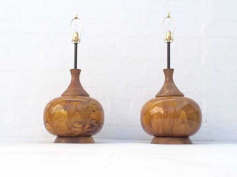 Large Pair of Drip Glazed Ceramic Lamps In Excellent Condition For Sale In Palm Springs, CA