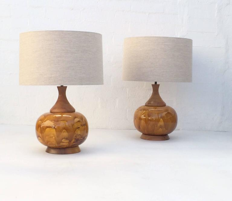 Large Pair of Drip Glazed Ceramic Lamps For Sale 1