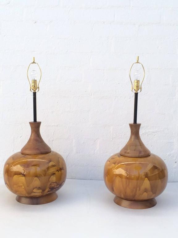 Mid-Century Modern Large Pair of Drip Glazed Ceramic Lamps For Sale