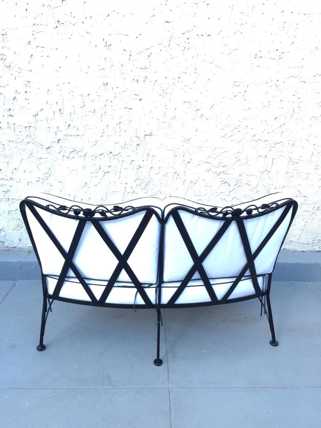 Rare 1950s Outdoor Wrought Iron Sectional By Russell