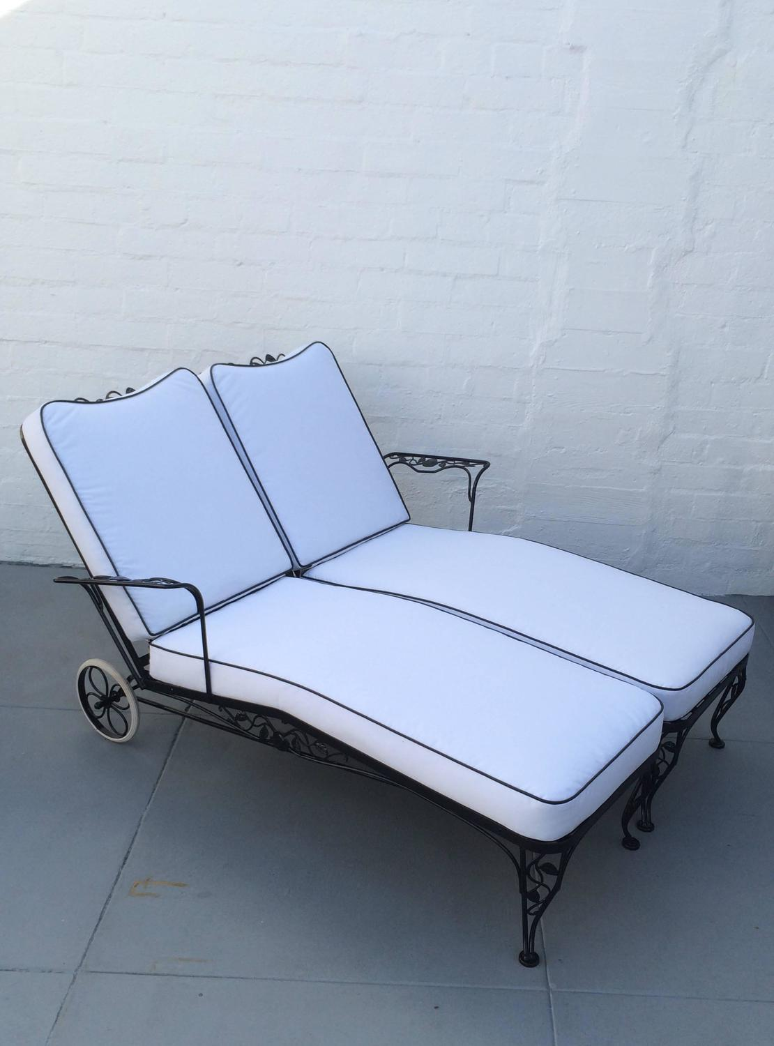 Wrought Iron Lounge Chaise for Two Designed by Russell Woodard at 1stdibs