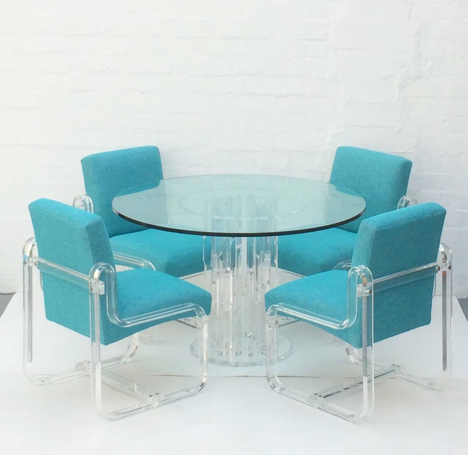 set of four acrylic dining chairs by vivid for sale at 1stdibs. Black Bedroom Furniture Sets. Home Design Ideas