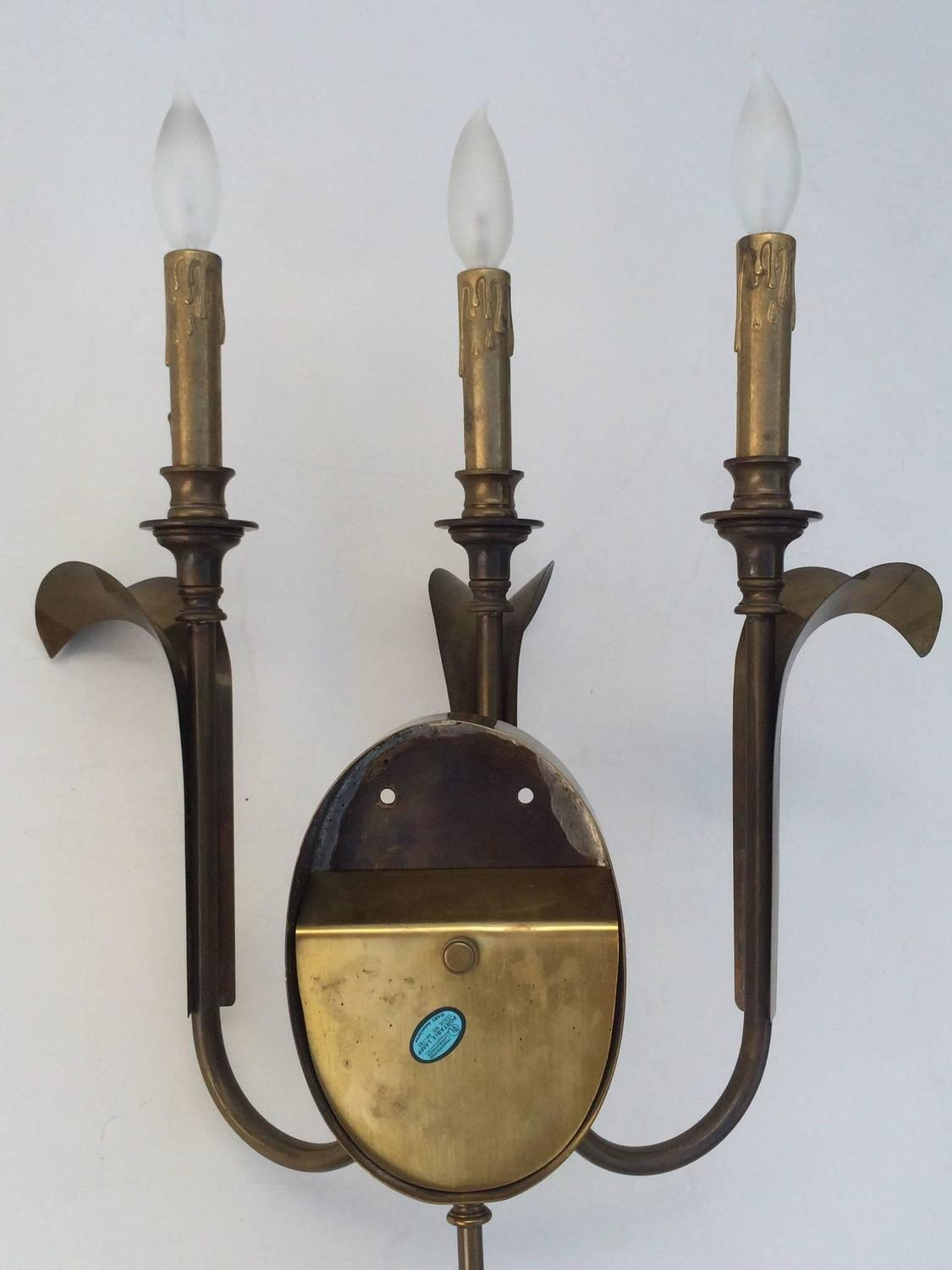 Aged Brass Wall Sconces : Pair of 1970s Aged Brass Wall Sconces by Hart at 1stdibs