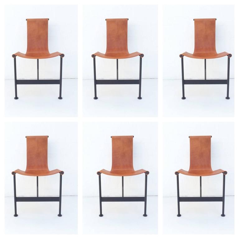 Set Of Six Exceptional Leather Sling Dining Chairs Possible Attribution To Giorgio Belloli Italian
