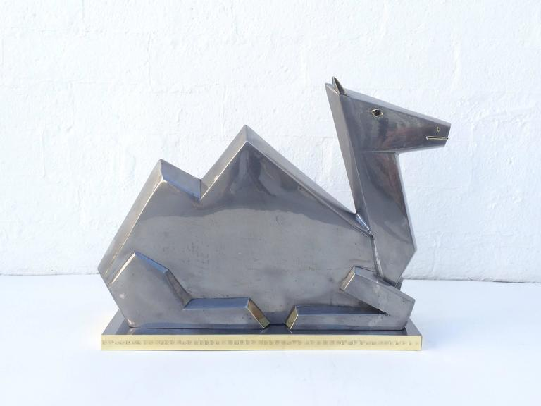 Pewter and Brass Camel from the Sahara Hotel, circa 1950s at 1stdibs