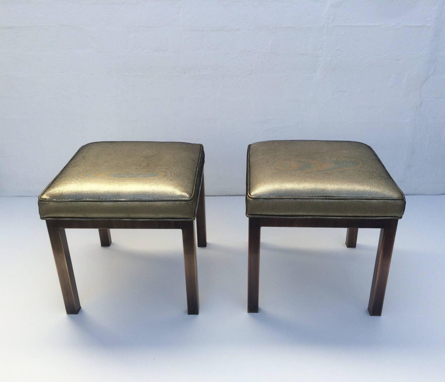 Leather And Brass Ottomans By Mastercraft For Sale At 1stdibs