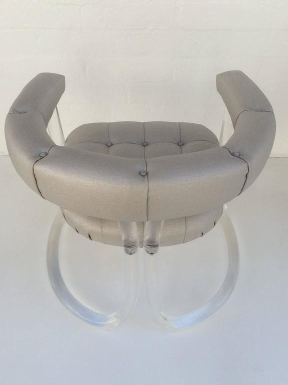 Polished Pair Sculpted Acrylic Armchairs For Sale