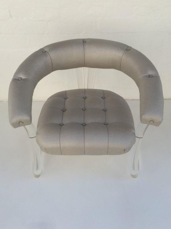 Pair Sculpted Acrylic Armchairs In Excellent Condition For Sale In Palm Springs, CA