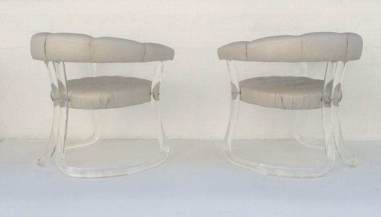 Pair Sculpted Acrylic Armchairs For Sale 3