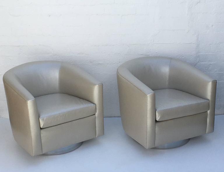 Leather Swivel Chair Amos Leather Swivel Chair Grey