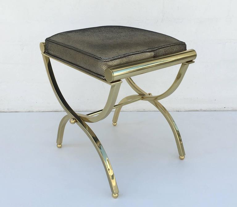 Polished Brass And Leather Vanity Stool By Charles Hollis