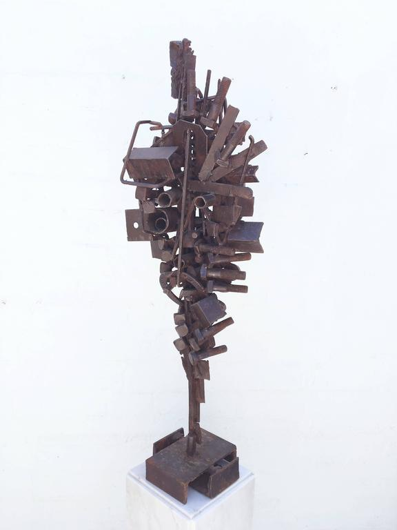 1970s Brutalist Freestanding Sculpture on a Carrera Marble Pedastal In Excellent Condition For Sale In Palm Springs, CA