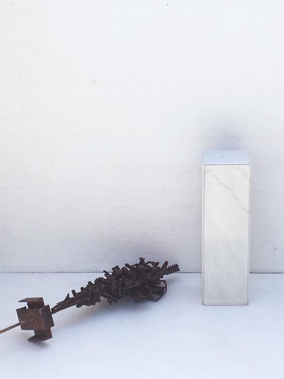 1970s Brutalist Freestanding Sculpture on a Carrera Marble Pedastal For Sale 3