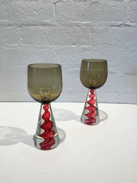 A pair of 1970s Murano glass candlestick by Seguso. This are very much like the ones that they designed for Tiffany & Co. But the labels were removed.