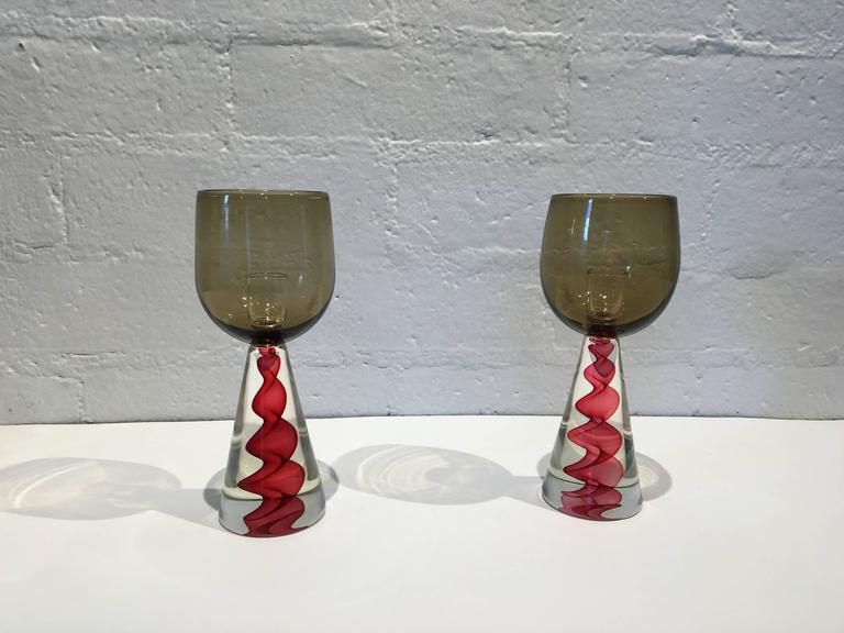 Modern Pair of 1970s Murano Glass Candlesticks by Seguso For Sale