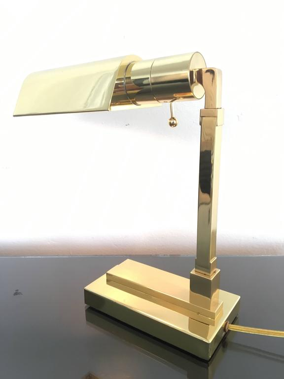 Modern Polished Brass Desk Lamp by Casella For Sale