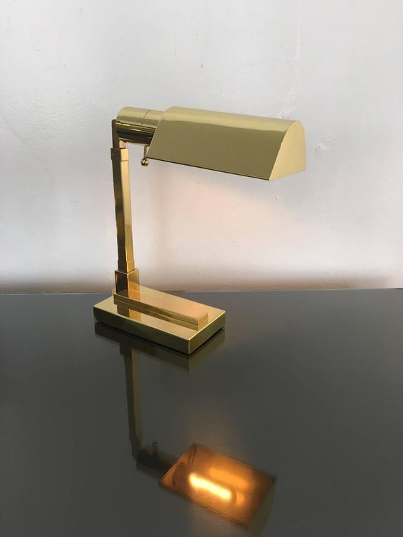 Late 20th Century Polished Brass Desk Lamp by Casella For Sale
