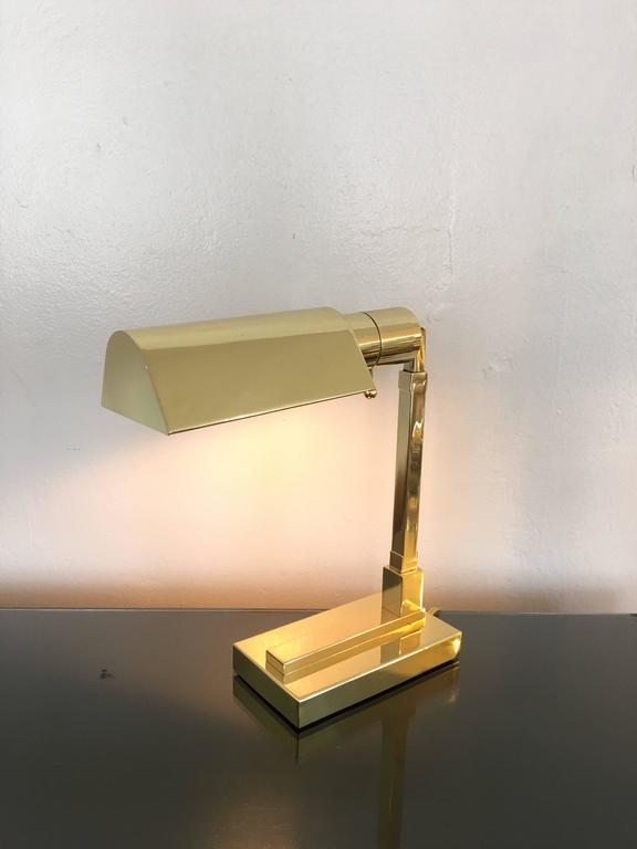 Polished Brass Desk Lamp by Casella For Sale 2