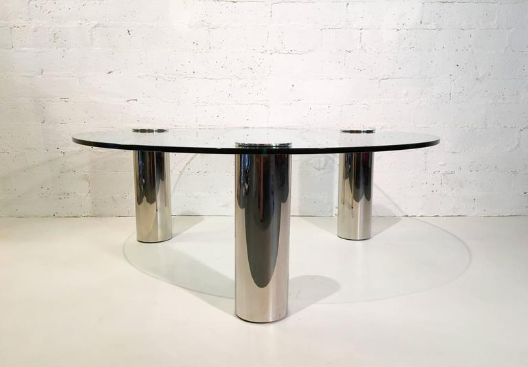 Modern Nickel and Glass Cocktail Table by Pace Collection For Sale