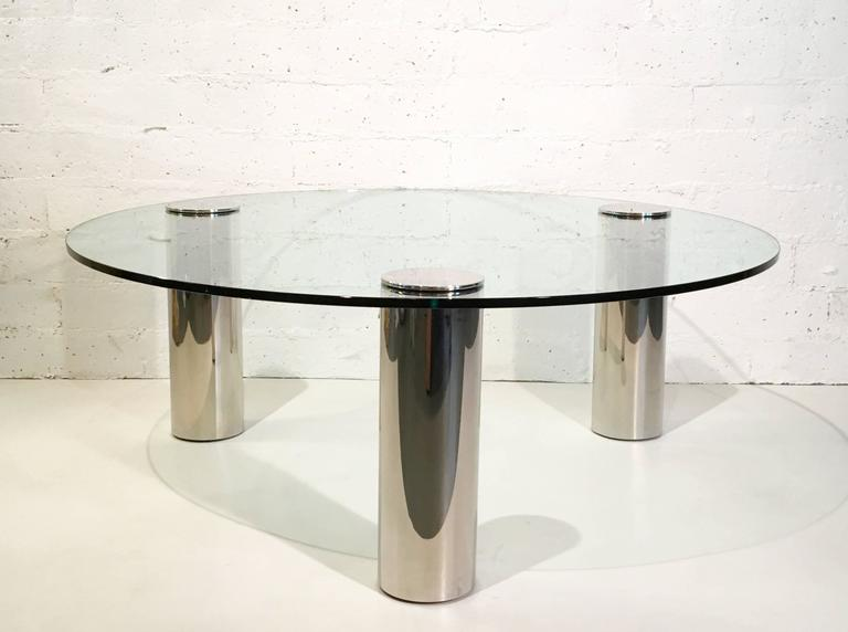 American Nickel and Glass Cocktail Table by Pace Collection For Sale