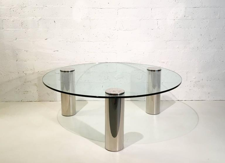 Nickel and Glass Cocktail Table by Pace Collection In Excellent Condition For Sale In Palm Springs, CA