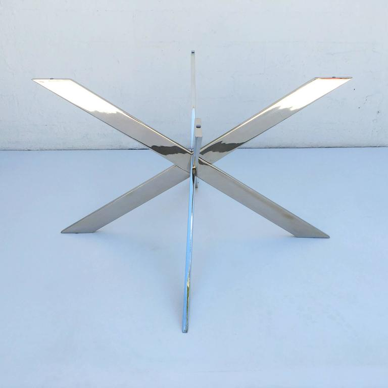 Polished Nickel and Glass Cocktail Table by Pace Collection For Sale