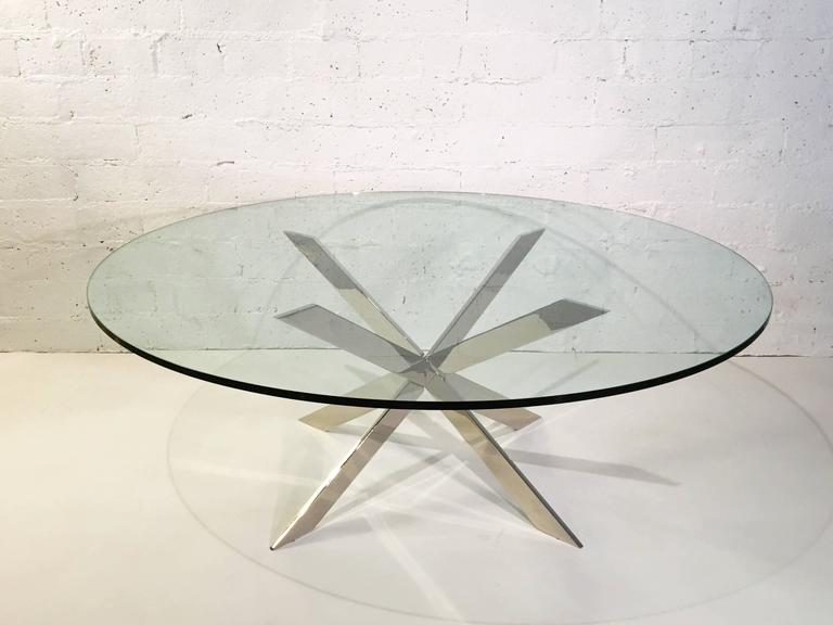 Mid-20th Century Nickel and Glass Cocktail Table by Pace Collection For Sale