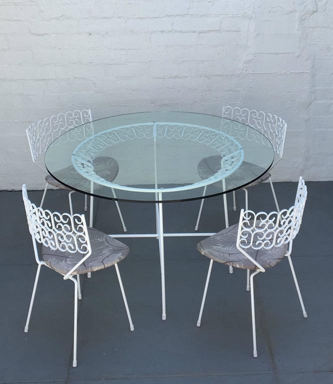 Five-Piece Wrought Iron And Glass Dinette Set By Arthur