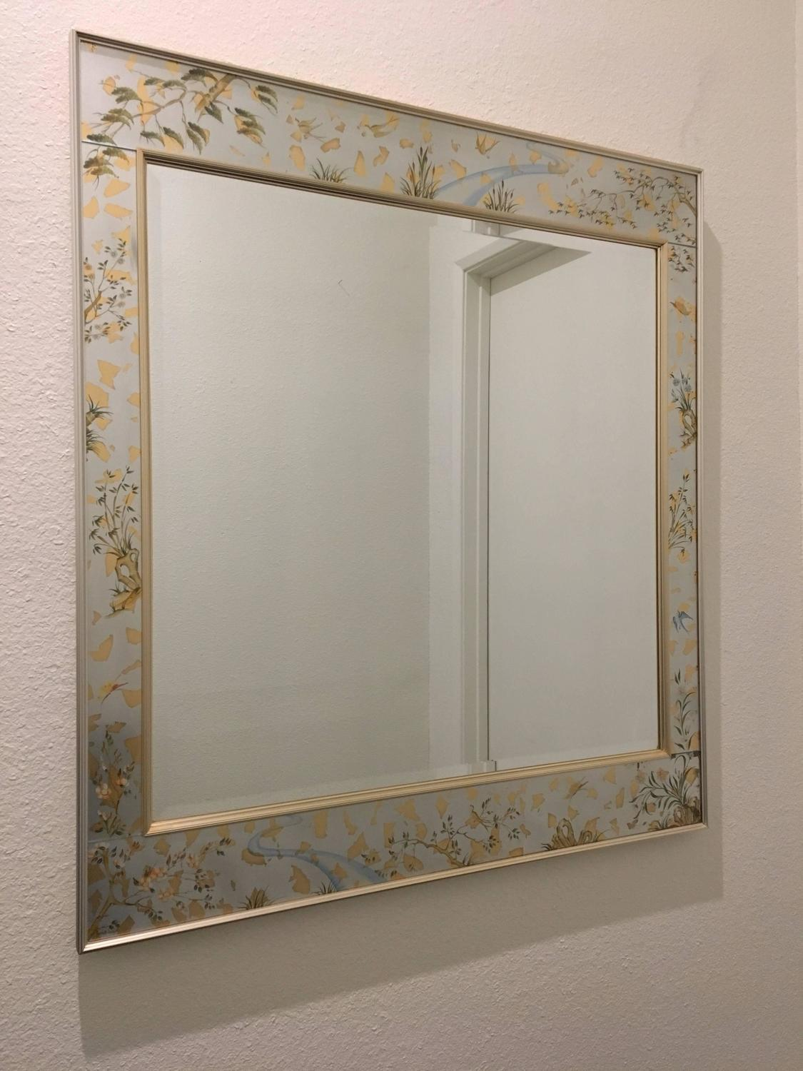 1980s large silver chinoiserie beveled mirror by la barge for Silver mirrors for sale