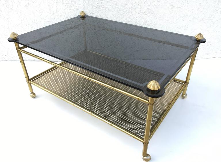 Mid-Century Modern French Two-Tiered Brass and Glass Faux Bamboo Cocktail Table For Sale