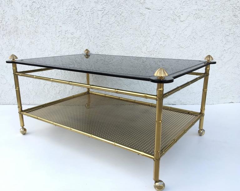 Polished French Two-Tiered Brass and Glass Faux Bamboo Cocktail Table For Sale
