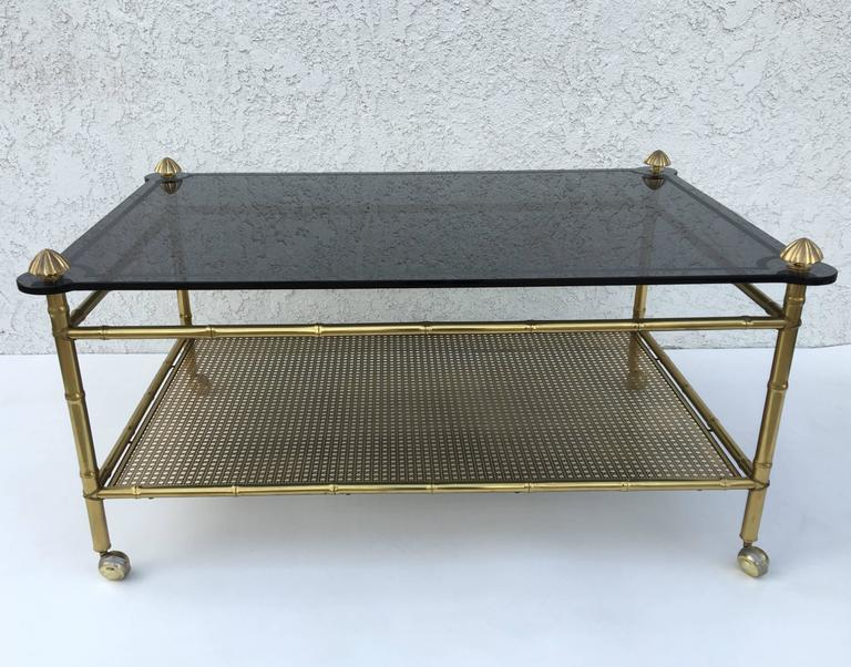 Mid-20th Century French Two-Tiered Brass and Glass Faux Bamboo Cocktail Table For Sale