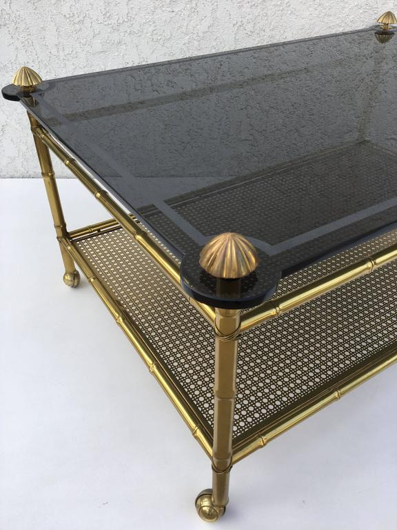 French Two-Tiered Brass and Glass Faux Bamboo Cocktail Table For Sale 1