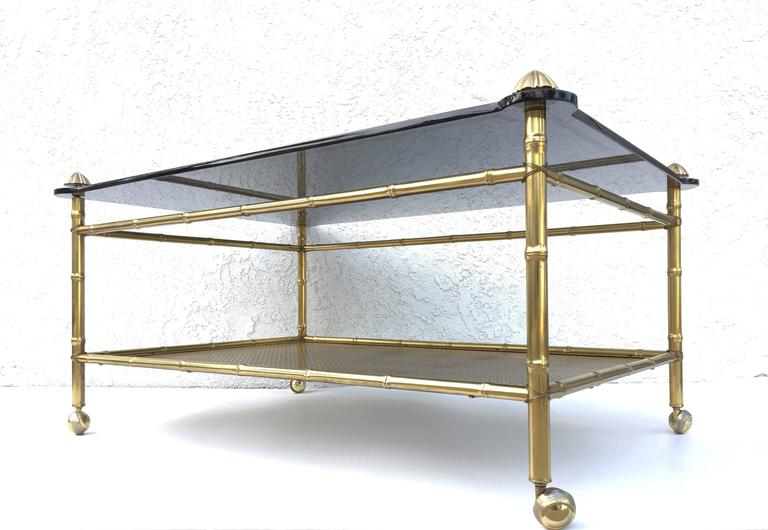 French Two-Tiered Brass and Glass Faux Bamboo Cocktail Table For Sale 2