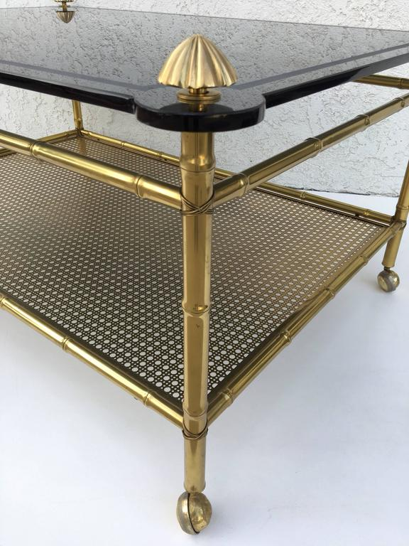 French Two-Tiered Brass and Glass Faux Bamboo Cocktail Table For Sale 3