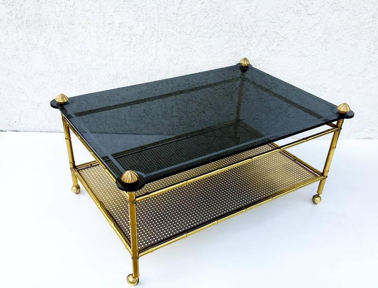 French Two-Tiered Brass and Glass Faux Bamboo Cocktail Table For Sale 4