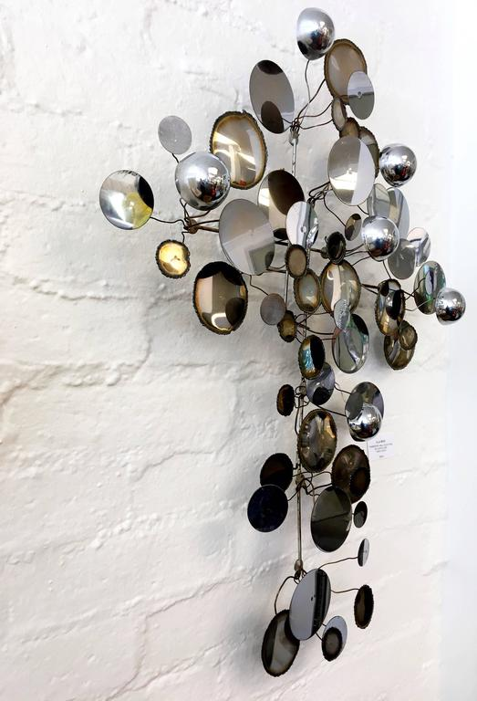 "Chrome ""Raindrops"" Wall Sculpture by Curtis Jeré 4"