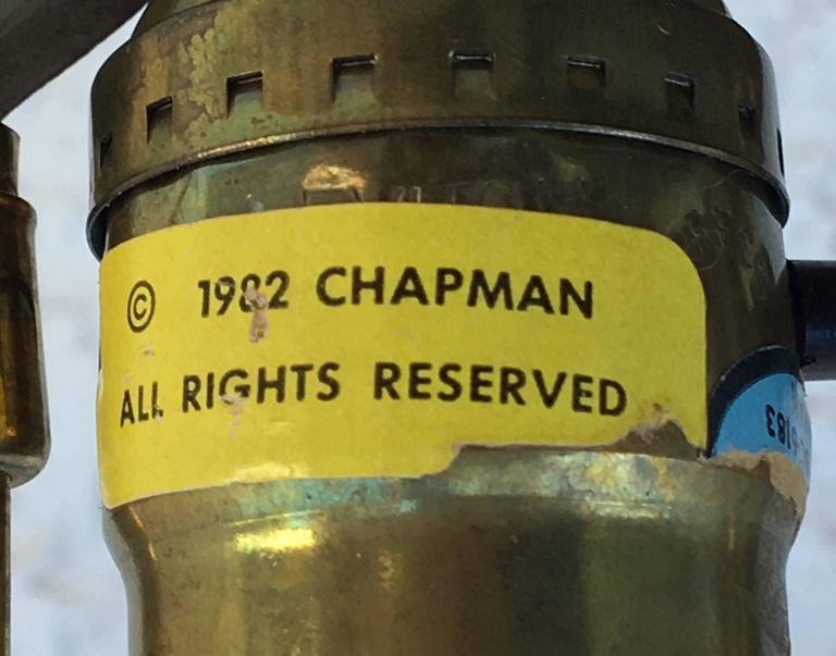Pair of Ceramic and Brass Table Lamps by Chapman For Sale 2
