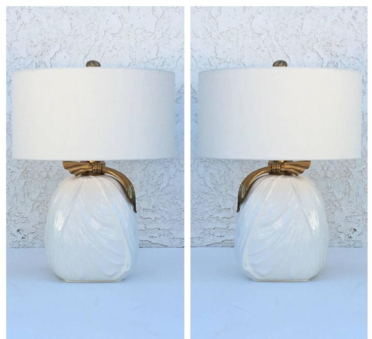 Pair of Ceramic and Brass Table Lamps by Chapman For Sale 3