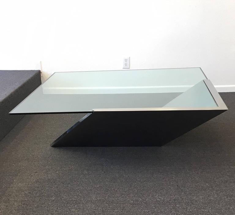 Brushed Stainless Steel And Glass Cocktail Table By Brueton For Sale At 1stdibs