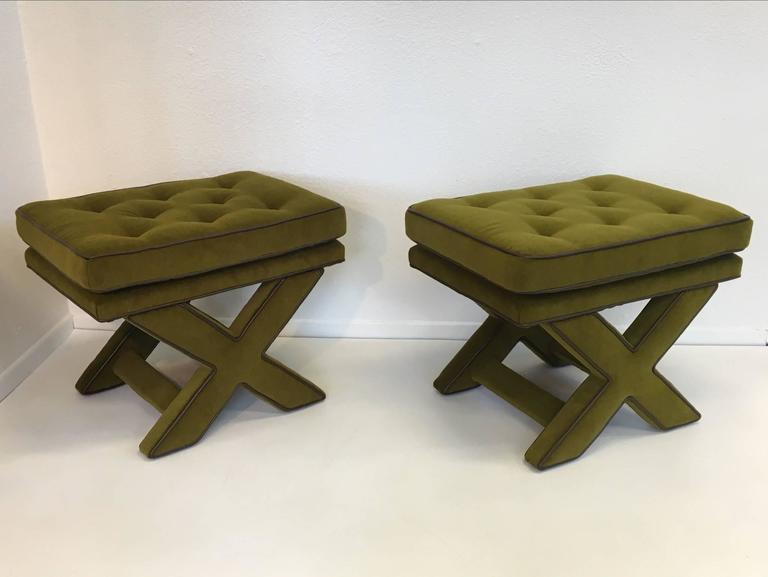 "An amazing pair of ""X"" base benches by Designer Billy Baldwin from the 1970s.