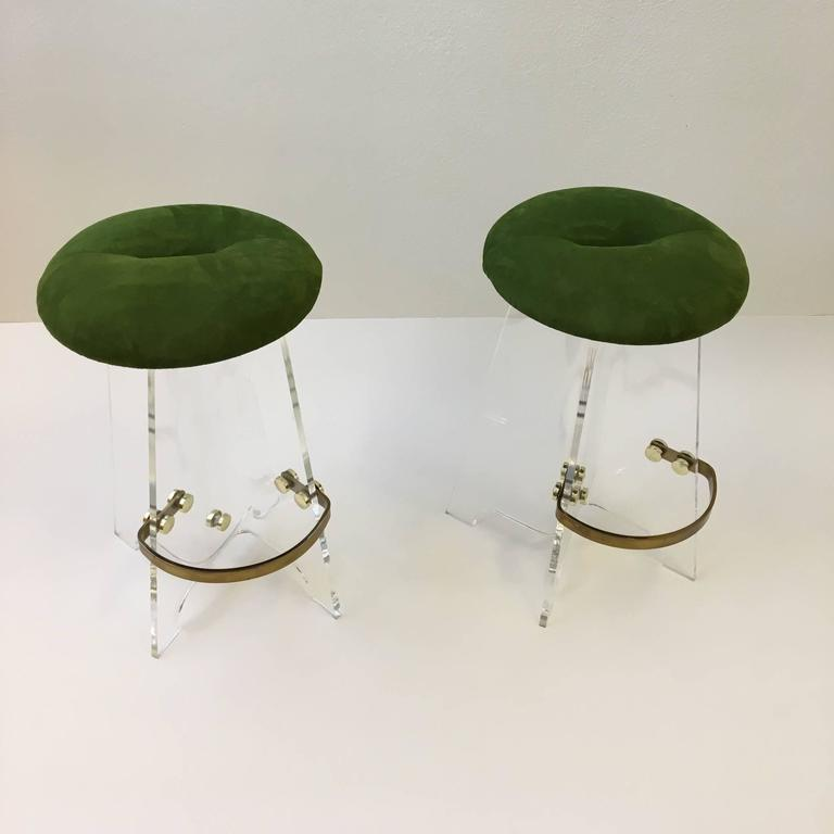 Pair Of Acrylic And Suede Leather Swivel Barstools At 1stdibs