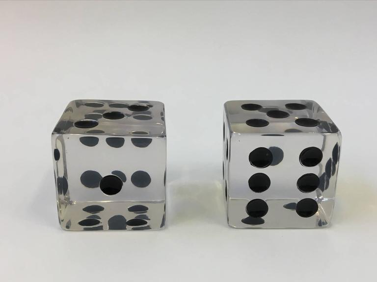 Pair of Large Acrylic Dice by Charles Hollis Jones In Excellent Condition For Sale In Palm Springs, CA